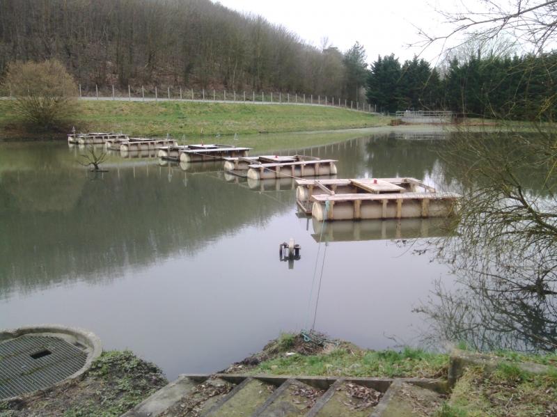 Radeaux filtrants en ligne sur la lagune